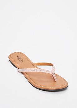 Pink Rhinestone Studded Flip Flops