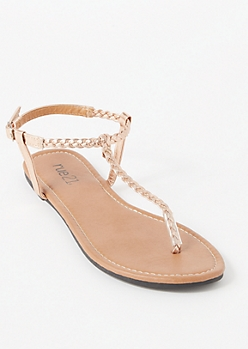 Rose Gold Braided T Strap Sandals