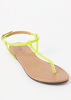 Neon Yellow Braided T Strap Sandals