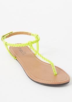 Neon Yellow Braided T Strap Sandals