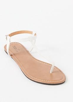 White T Strap Thong Sandal