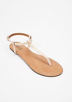 Tan Faux Leather T Strap Sandals