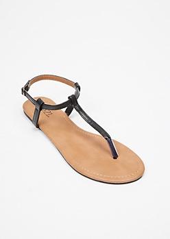 Black Snakeskin Print T Strap Sandals