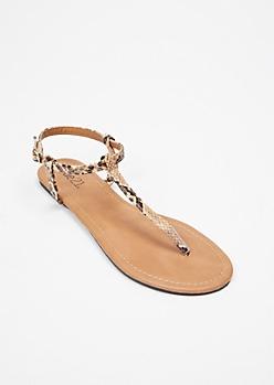 Dark Snakeskin Print T Strap Sandals
