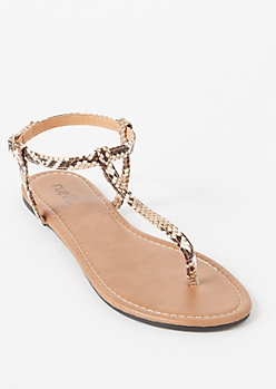 Snakeskin Print T Strap Sandals