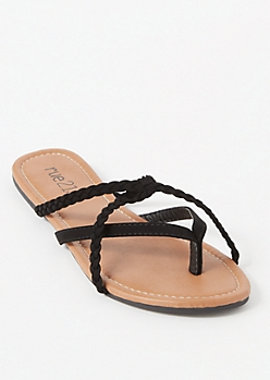 Black Braided Crisscross Strap Flip Flops