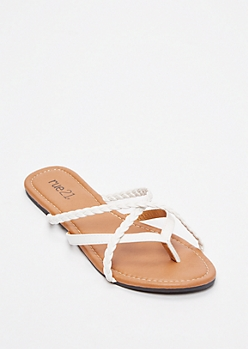 White Braided Crisscross Strap Flip Flops