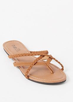 Cognac Braided Crisscross Strap Flip Flops