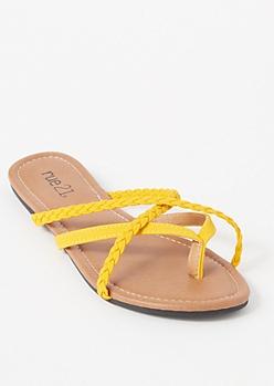 Mustard Braided Crisscross Strap Flip Flops