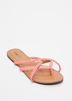Coral Braided Crisscross Strap Flip Flops