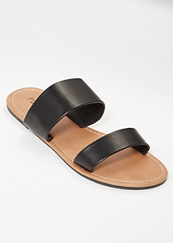Black Double Strap Slide Sandals