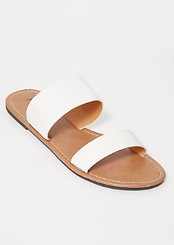 White Double Strap Slide Sandals