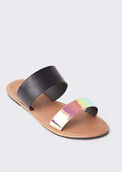 Iridescent Double Strap Slide Sandals