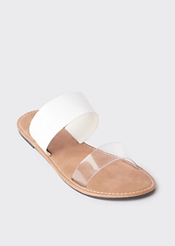 Clear Double Strap Slide Sandals
