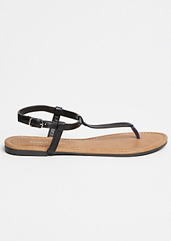 Black T Strap Ankle Sandals