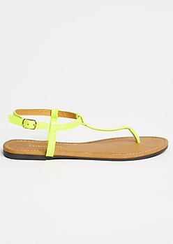 Neon Yellow T Strap Ankle Sandals