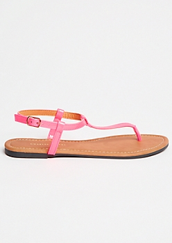 Neon Pink T Strap Ankle Sandals