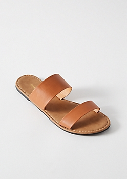 Cognac Double Strap Slip On Sandals