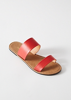 Red Double Strap Slip On Sandals