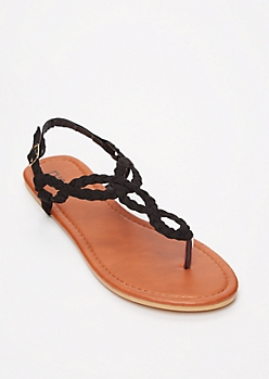 Black Braid Keyhole T Strap Sandals