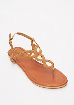 Cognac Braid Keyhole T Strap Sandals
