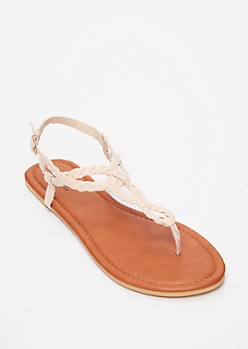 Pale Pink Braid Keyhole T Strap Sandals
