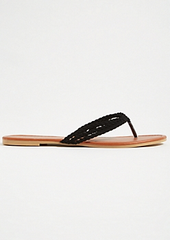 Black Faux Suede Braided Flip Flops