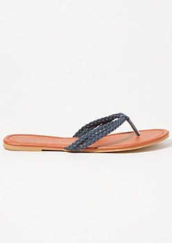 Navy Faux Suede Braided Flip Flops