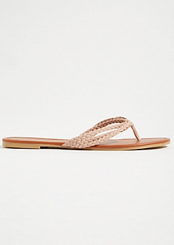 Pink Faux Suede Braided Flip Flops