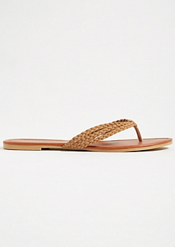 Tan Faux Suede Braided Flip Flops