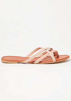 Pink Crisscross Strap Flip Flops