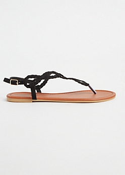 Black Horse Shoe Braided Faux Suede Flip Flops