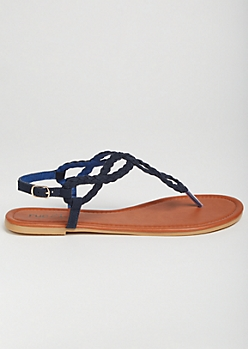 Navy Braided Horseshoe Ankle Sandals
