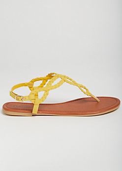 Mustard Braided Horseshoe Ankle Sandals