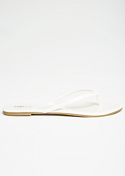 White Patent Faux Leather Flip Flops