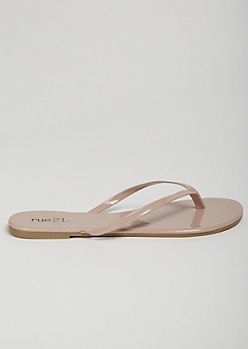 Nude Patent Faux Leather Flip Flops