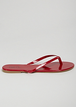 Red Patent Faux Leather Flip Flops