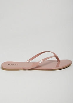 Pink Patent Faux Leather Flip Flops