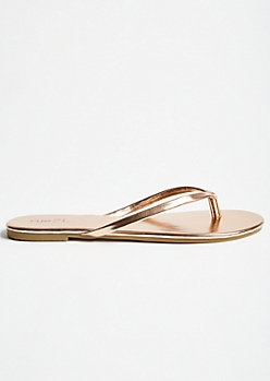 Rose Gold Patent Faux Leather Flip Flops