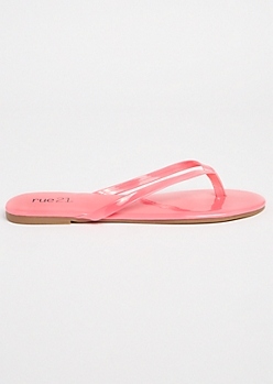 Neon Fuchsia Patent Faux Leather Flip Flops