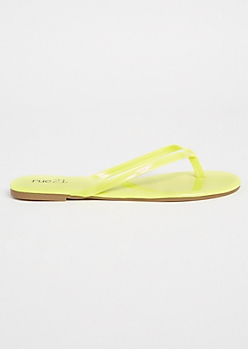 Neon Yellow Patent Faux Leather Flip Flops