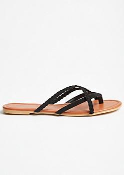 Black Crisscross Braided Flip Flops
