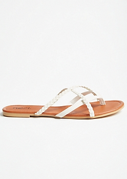 White Crisscross Braided Flip Flops