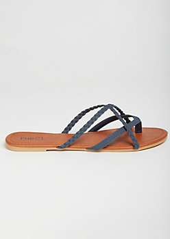 Navy Crisscross Braided Flip Flops