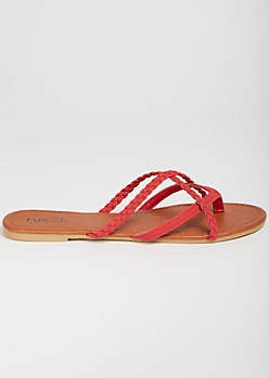 Red Crisscross Braided Flip Flops