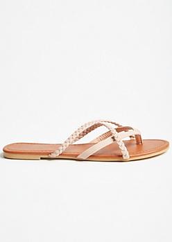 Pink Crisscross Braided Flip Flops