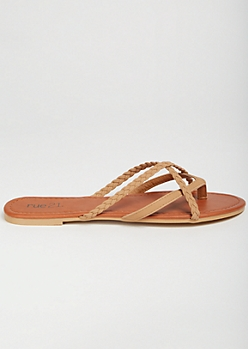 Tan Crisscross Braided Flip Flops