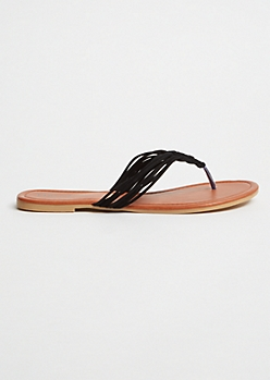 Black Braided Faux Suede Flip Flops