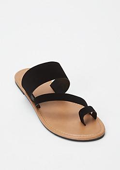 Black Asymmetrical Toe Strap Sandals