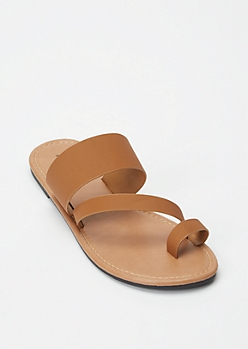 Cognac Asymmetrical Toe Strap Sandals